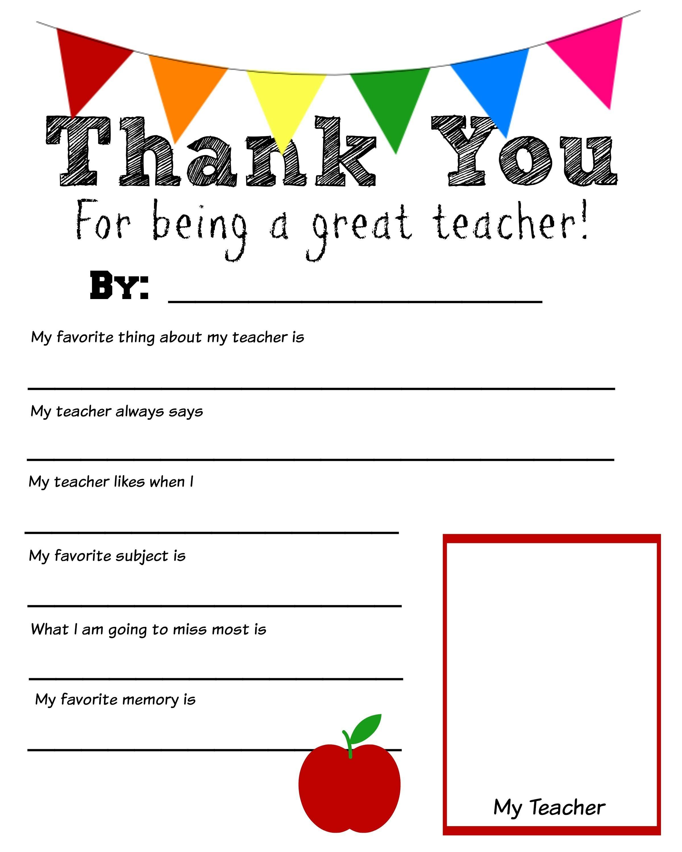 Thank You Teacher Free Printable | School Days | Teacher - Thank You Teacher Printables Free