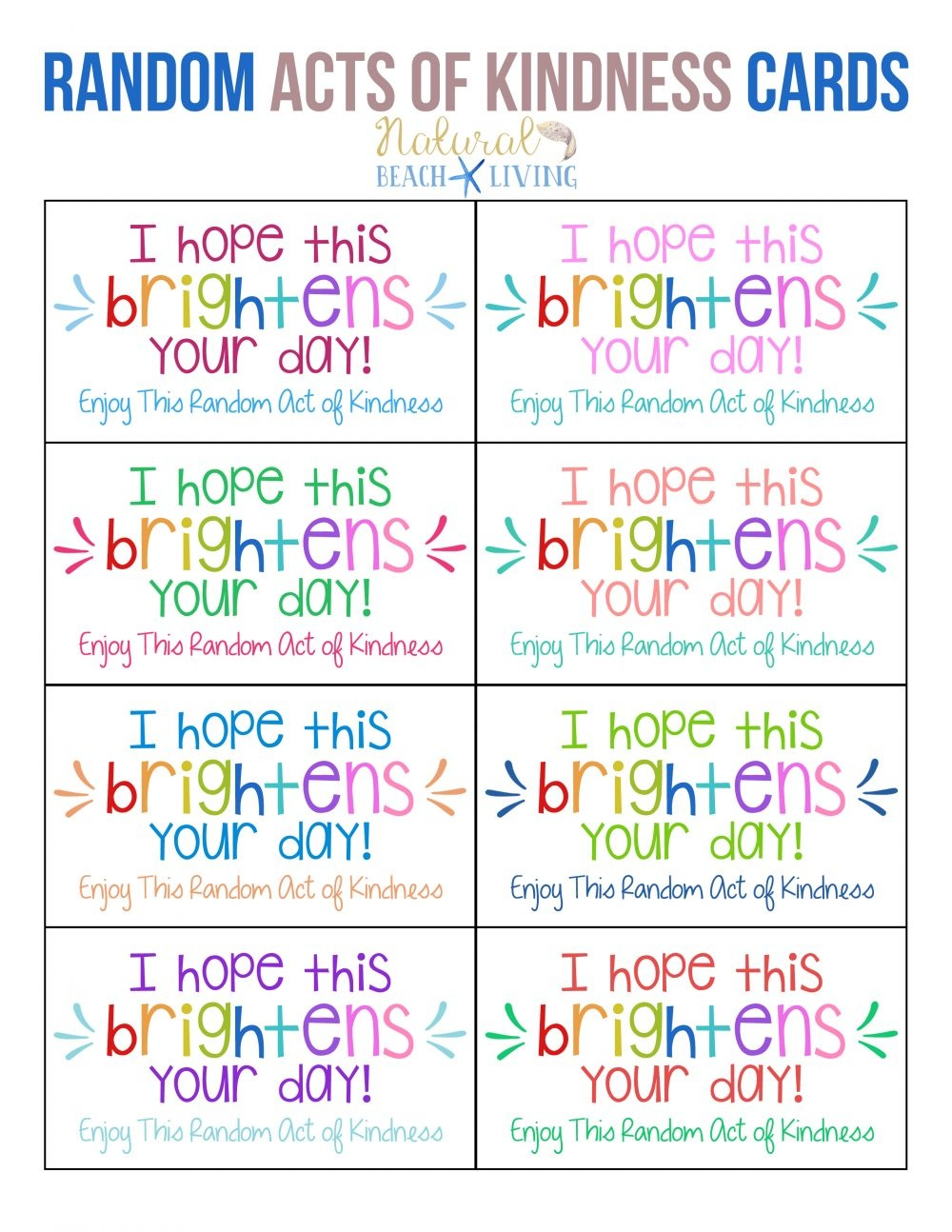 The Best Random Acts Of Kindness Printable Cards Free - Natural - Free Printable Compliment Cards