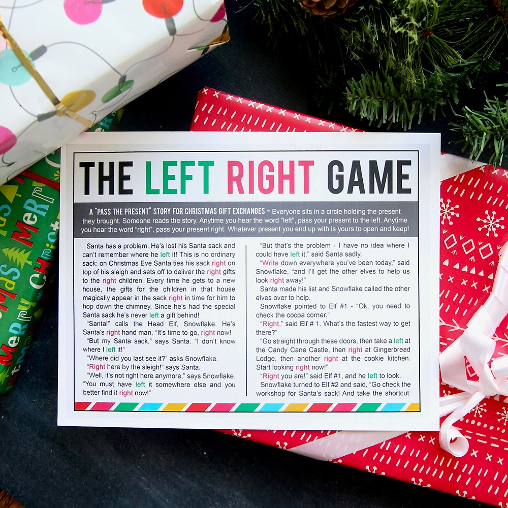 The Christmas Left Right Game (W/printable Story) - It's Always Autumn - Free Printable Women's Party Games