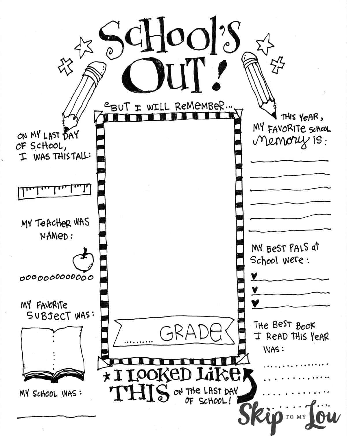 The Coolest Free Printable End Of School Coloring Page | Skip To My Lou - Free Printable Memory Book Templates