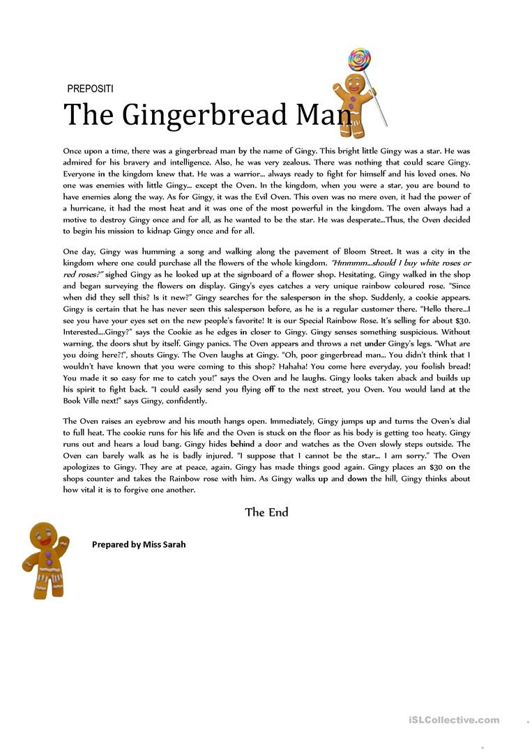 The Gingerbread Man (Prepositions) Worksheet - Free Esl Printable - Free Printable Version Of The Gingerbread Man Story