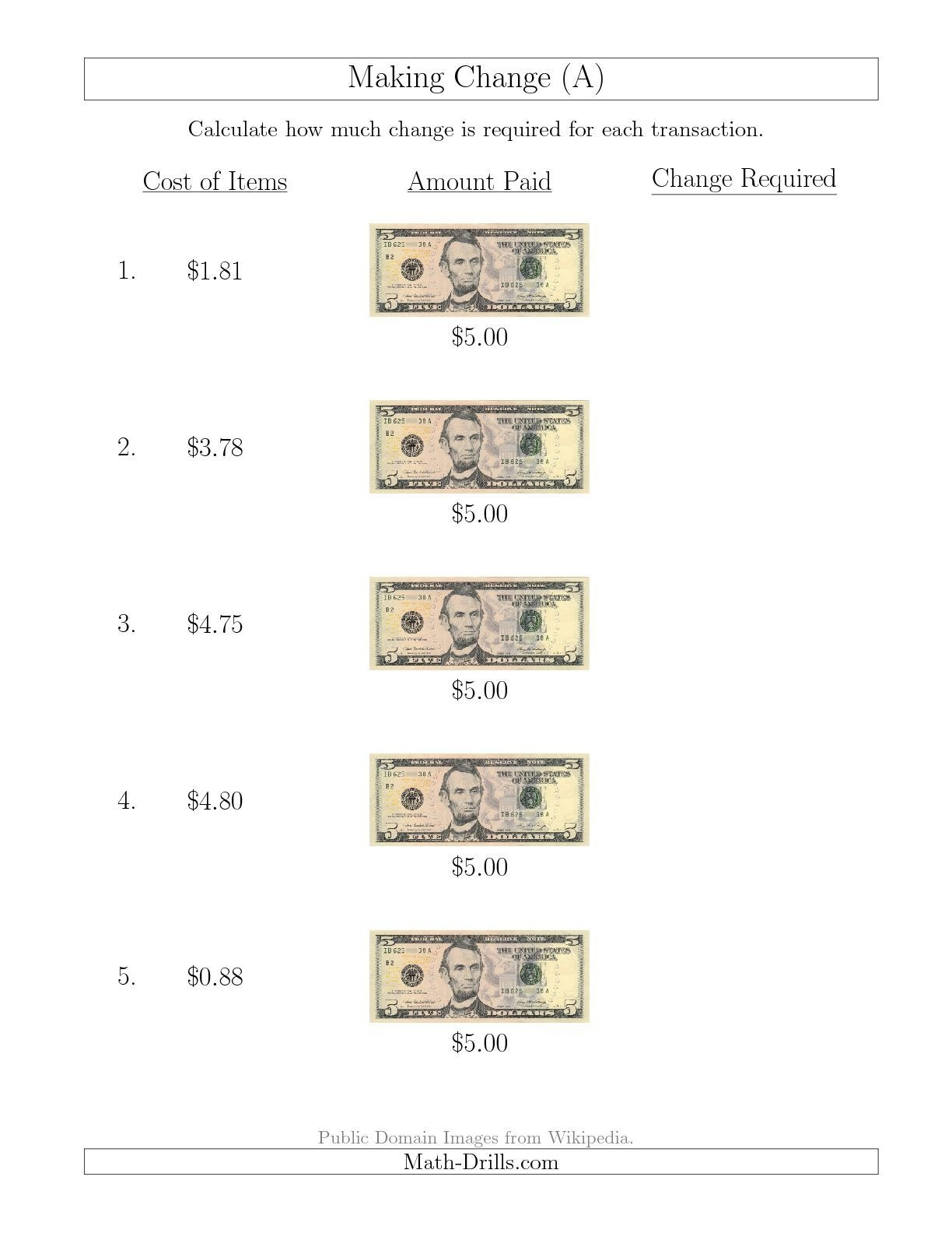 The Making Change From U.s. $5 Bills (A) Math Worksheet From The - Free Printable Making Change Worksheets