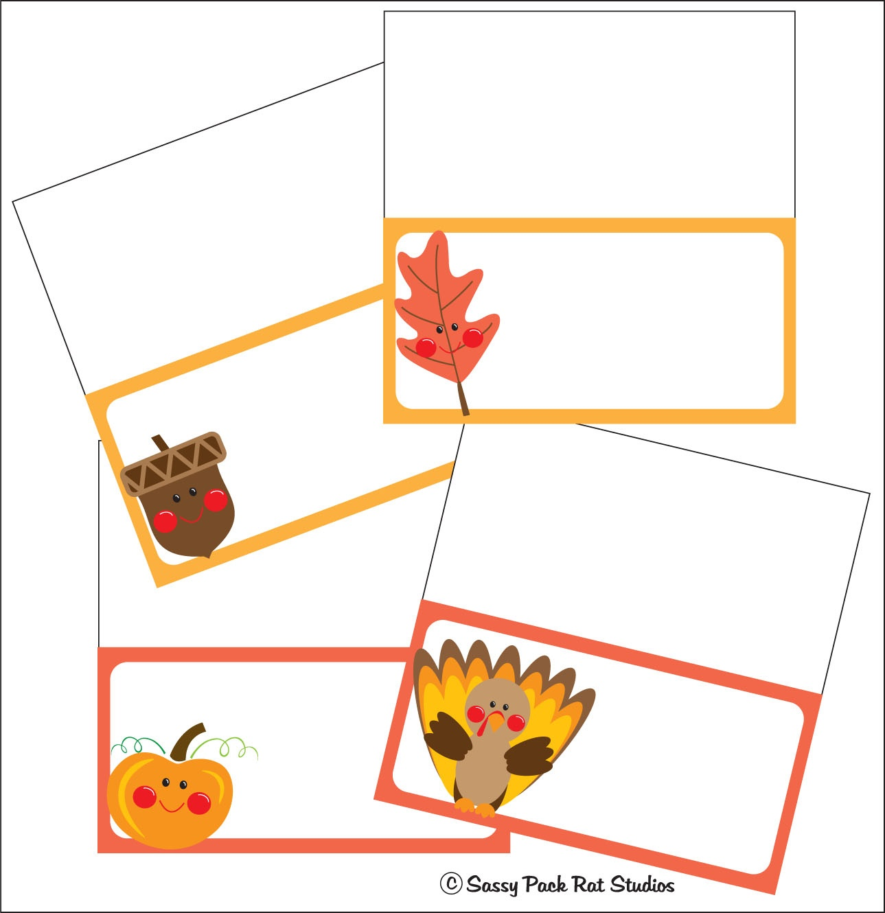 The Sassy Pack Rat: Thanksgiving Place Card Printable Freebie - Free Printable Thanksgiving Place Cards