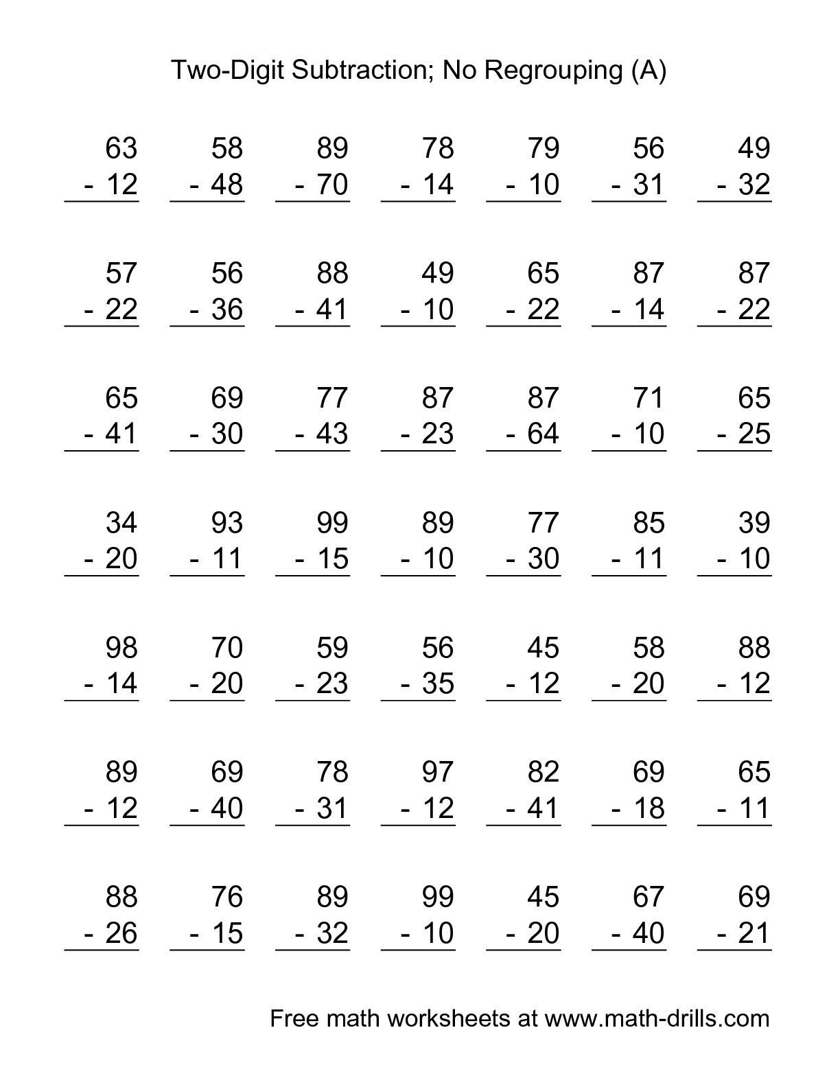 The Two-Digit Subtraction With No Regrouping -- 49 Questions (A - Free Printable Double Digit Addition And Subtraction Worksheets