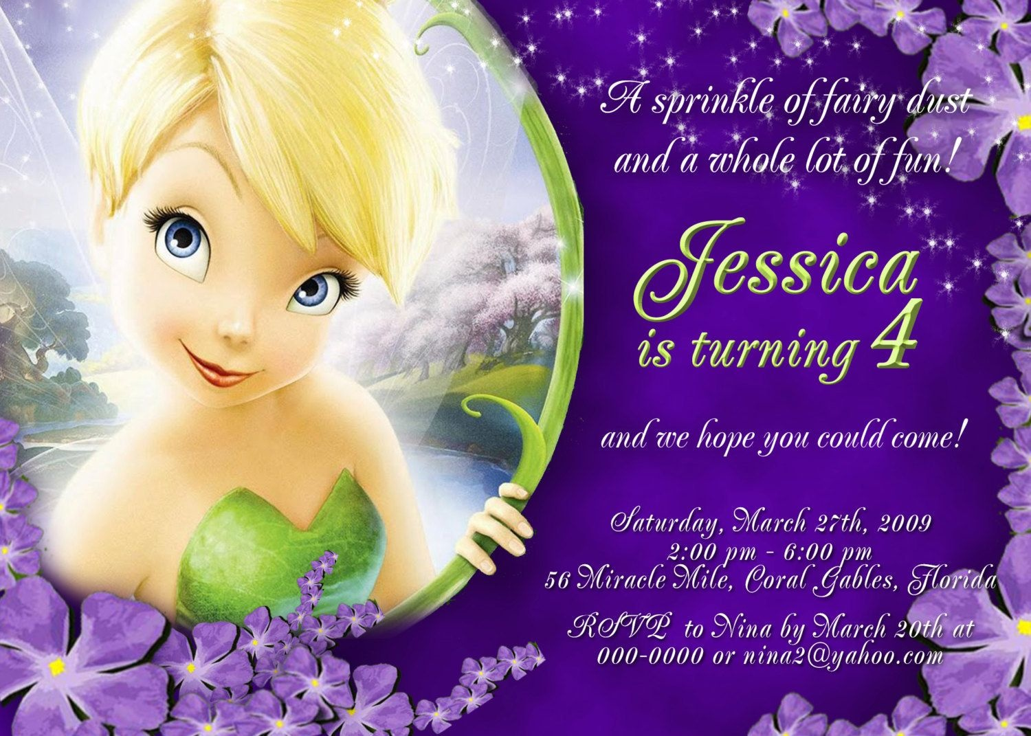 Tinkerbell Invitation For Disney Fairies Birthday Party Tink Tinker - Free Tinkerbell Printable Birthday Invitations