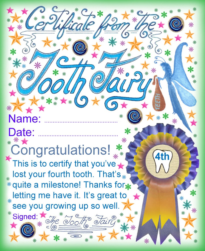 Tooth Fairy Certificate: Award For Losing Your Fourth Tooth - Free Printable Tooth Fairy Certificate