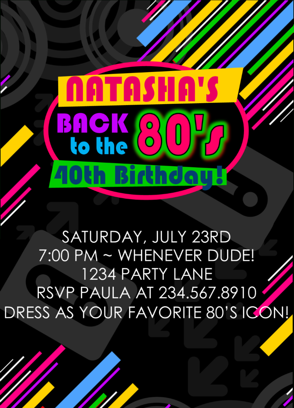 Totally Awesome 80's Theme Party Ideas And 80's Party Ideas For Games! - Free Printable 80S Birthday Party Invitations