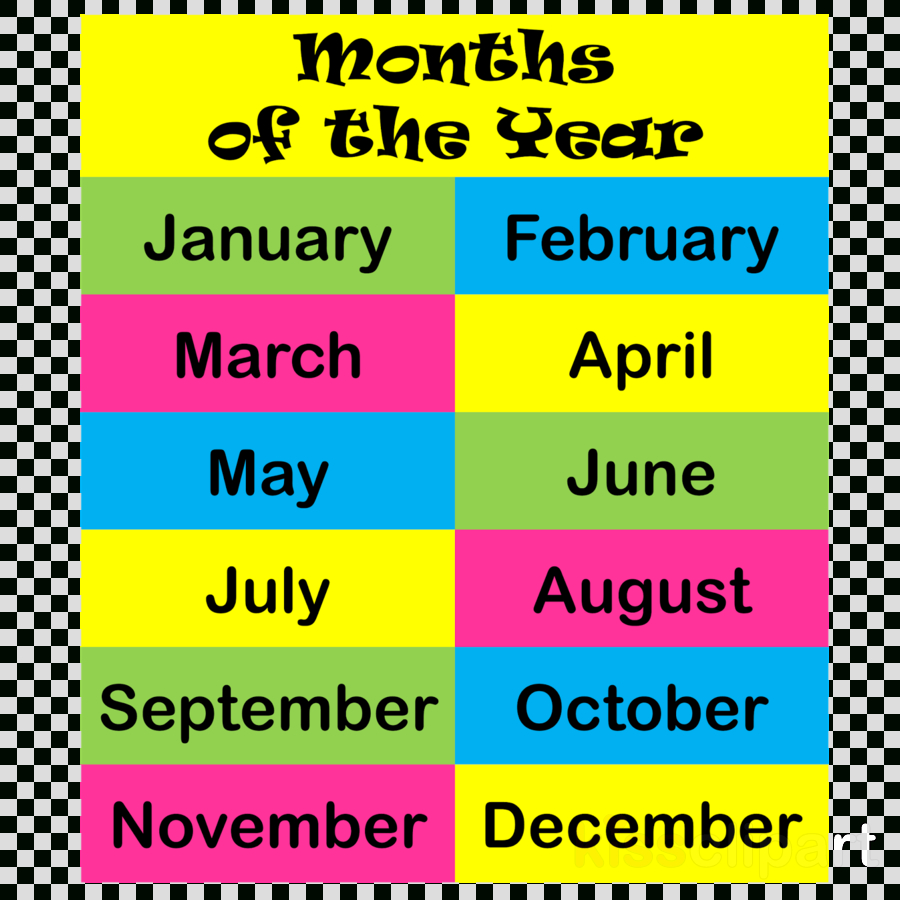 Transparent Png Image & Clipart Free Download - Free Printable Months Of The Year Chart
