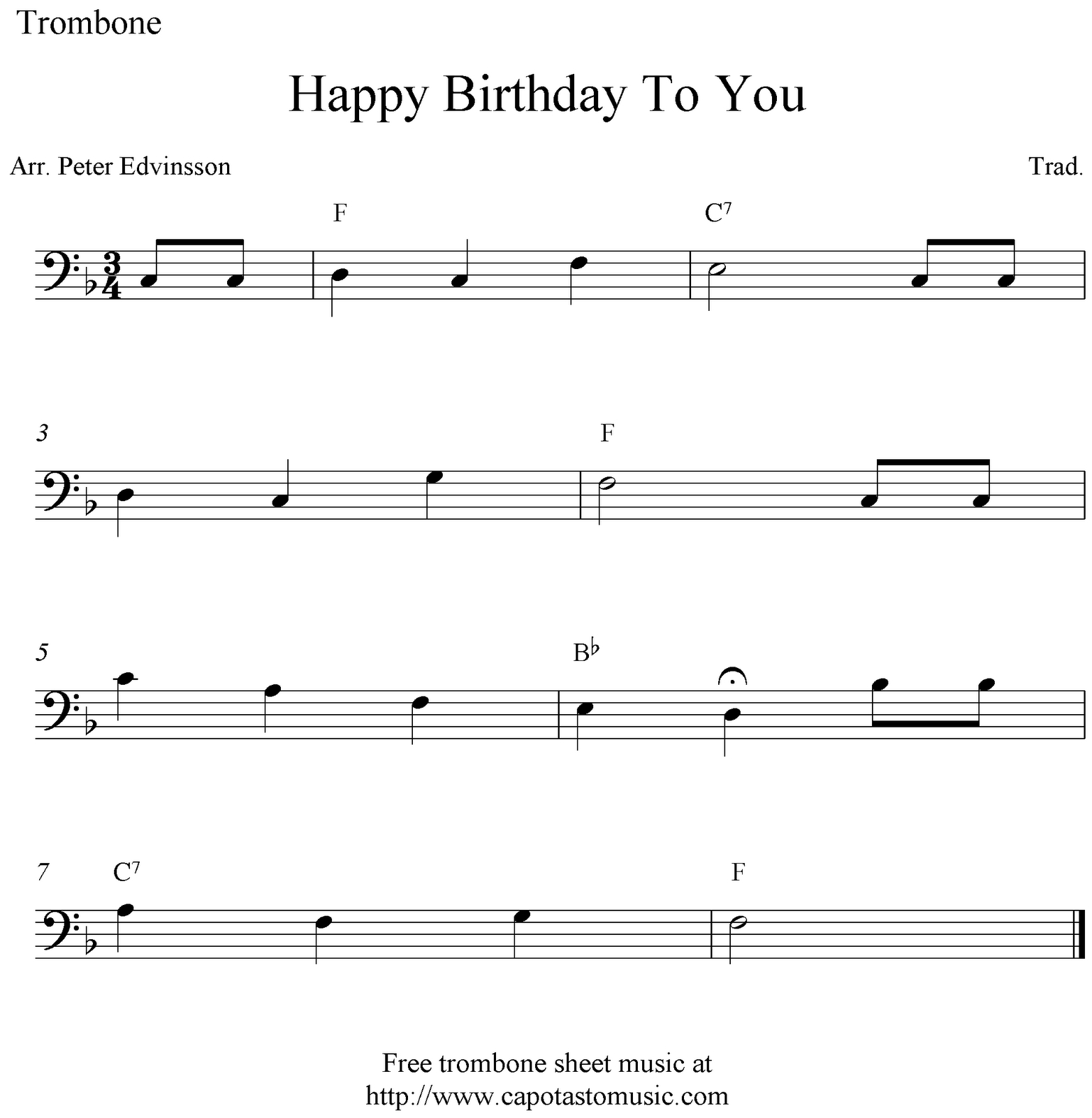 Trombone Sheet Music Happy Birthday | Sheet Music Scores: Happy - Sheet Music For Trombone Free Printable