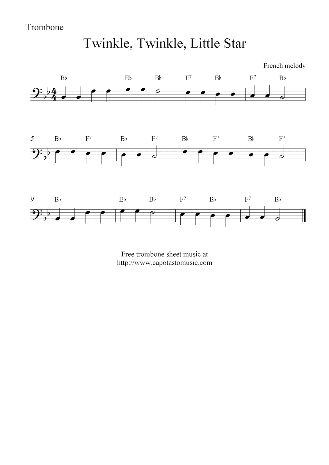 Twinkle, Twinkle, Little Star, Free Trombone Sheet Music Notes - Sheet Music For Trombone Free Printable