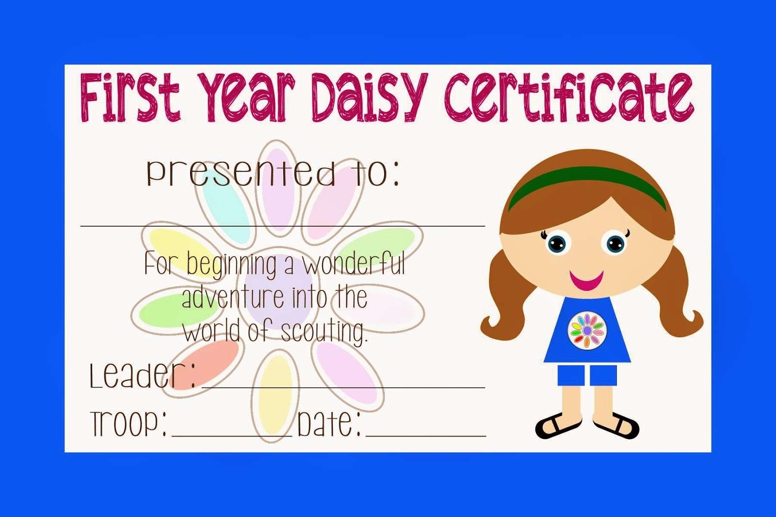 Two Magical Moms: Girl Scout Daisy Certificate - Free Daisy Girl Scout Printables
