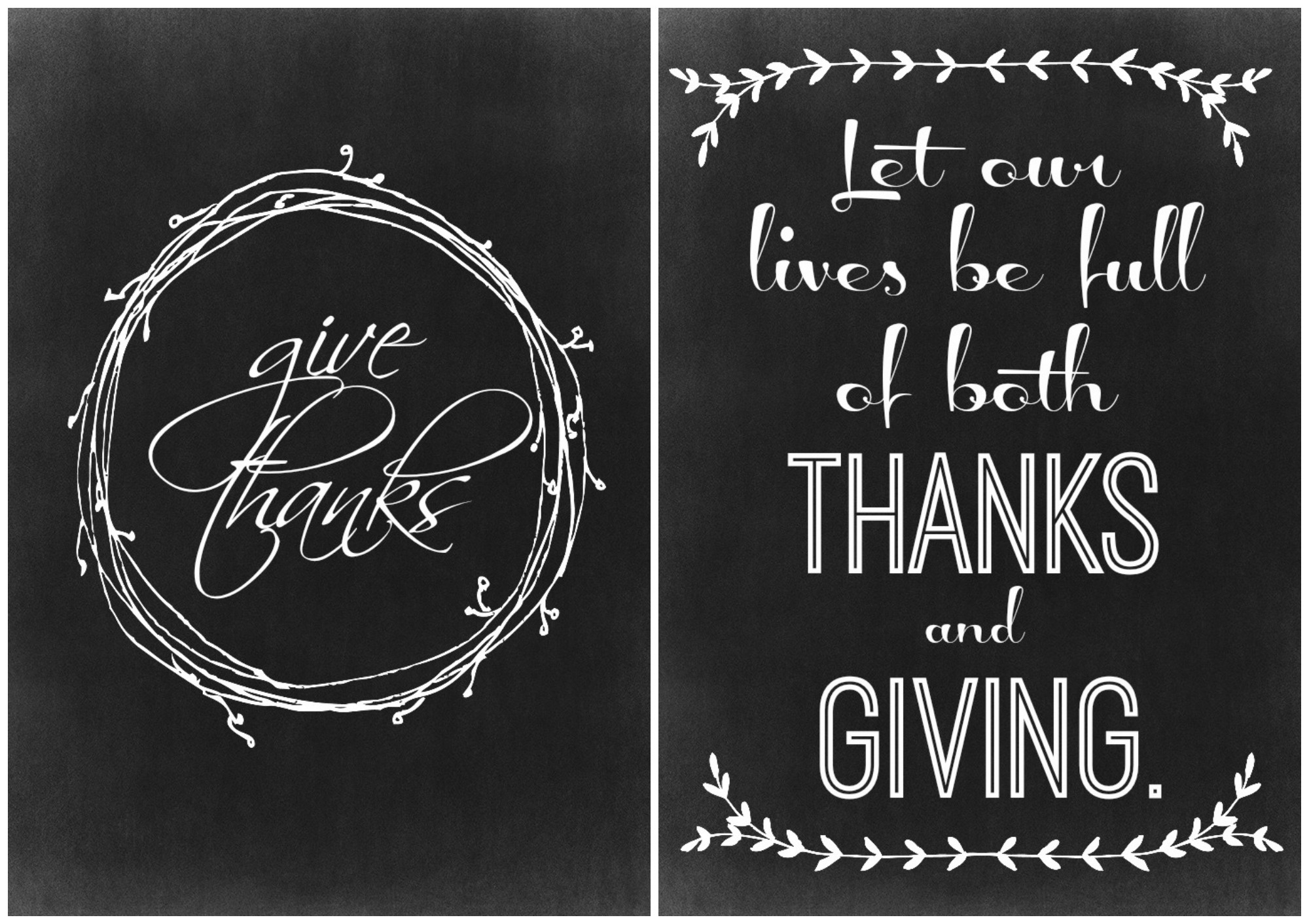Two Thanksgiving Chalkboard Printables - The Crazy Craft Lady - Free Chalkboard Printables