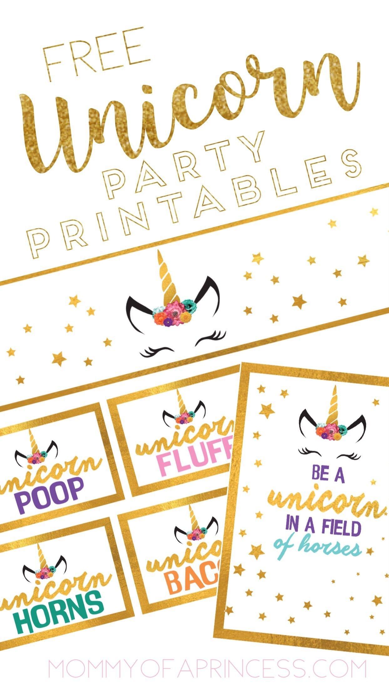Unicorn Birthday Party Ideas With Free Printable Download | Feestje - Free Unicorn Party Printables