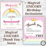 Unicorn Birthday Party Invitations And Thank You Notes   Free   Free Printable Unicorn Invitations