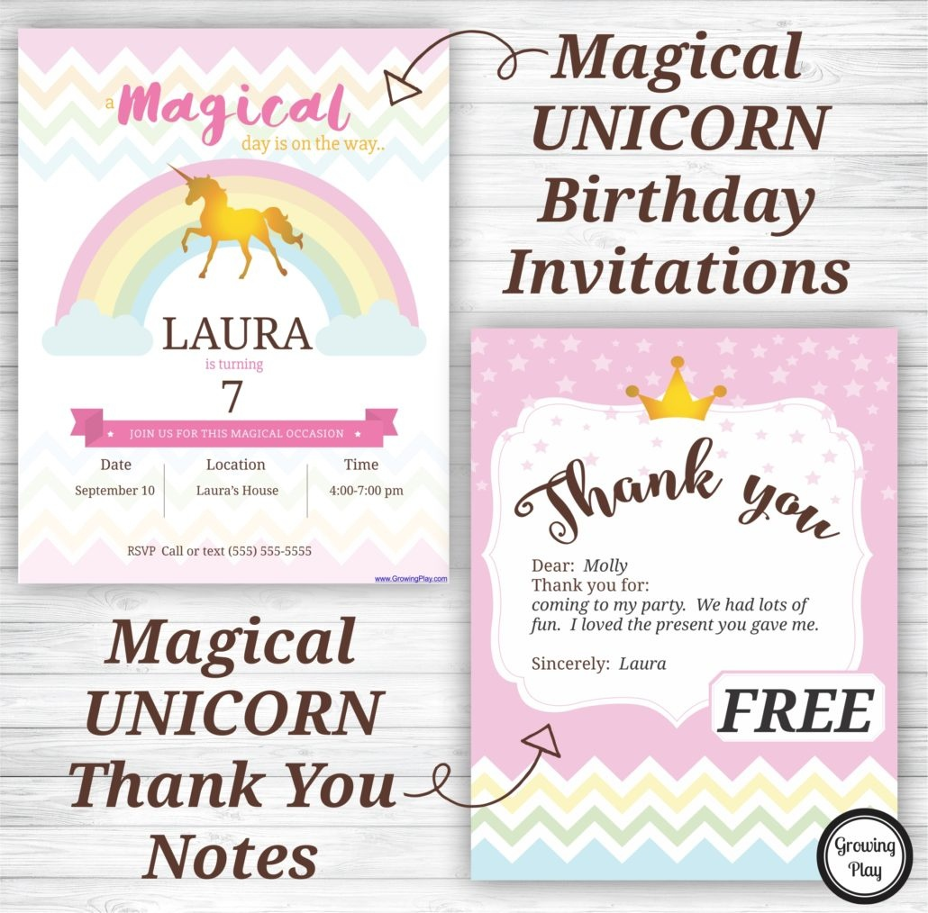 Unicorn Birthday Party Invitations And Thank You Notes - Free - Free Printable Unicorn Invitations