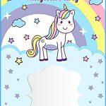 Unicorn Free Printable First Birthday Invitation Template   Free Printable Rainbow Unicorn Invitations