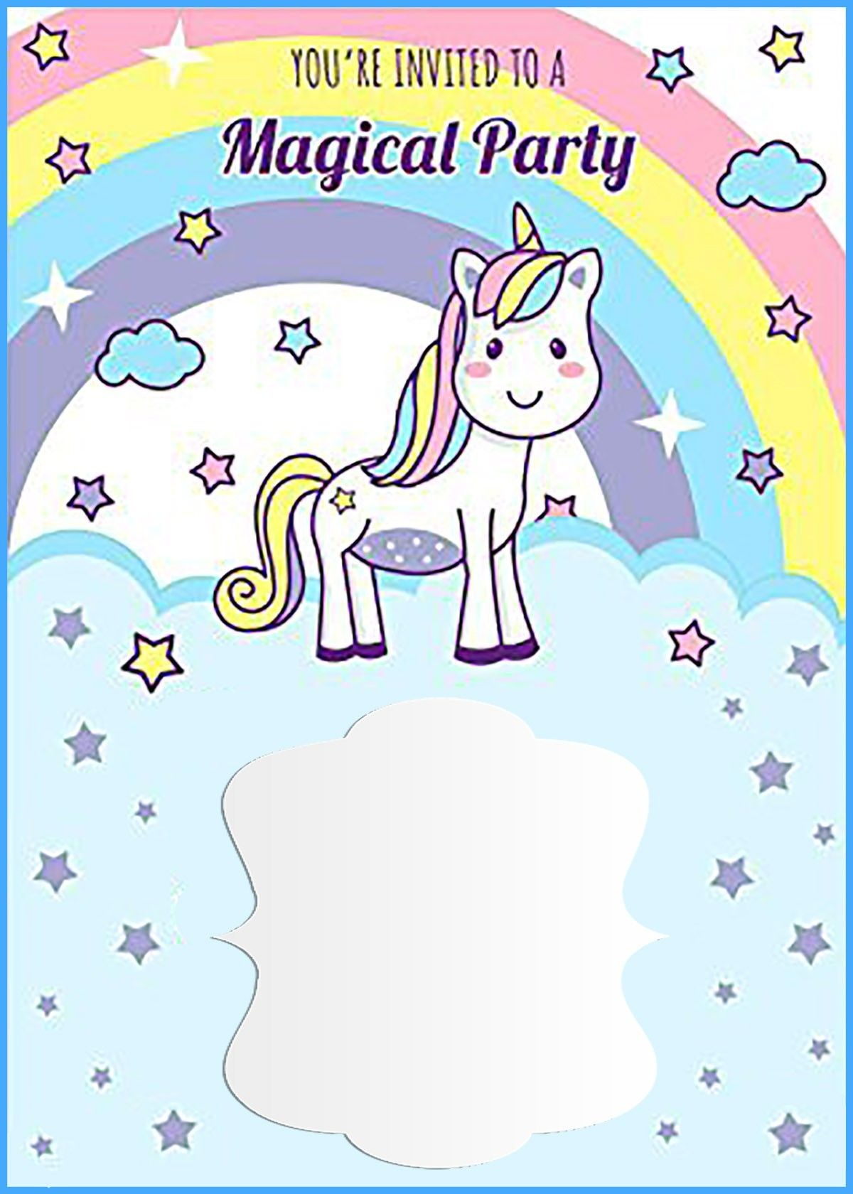 Unicorn Free Printable First Birthday Invitation Template - Free Printable Rainbow Unicorn Invitations