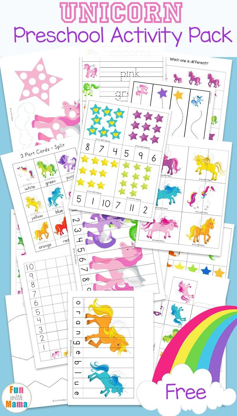 Unicorn Preschool Activity Pack | Free Printable Activities - Free Printable Learning Pages
