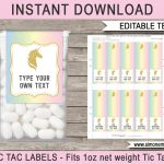 Unicorn Tic Tac Labels | Unicorn | Unicorn Party, Unicorn Birthday   Free Printable Tic Tac Labels