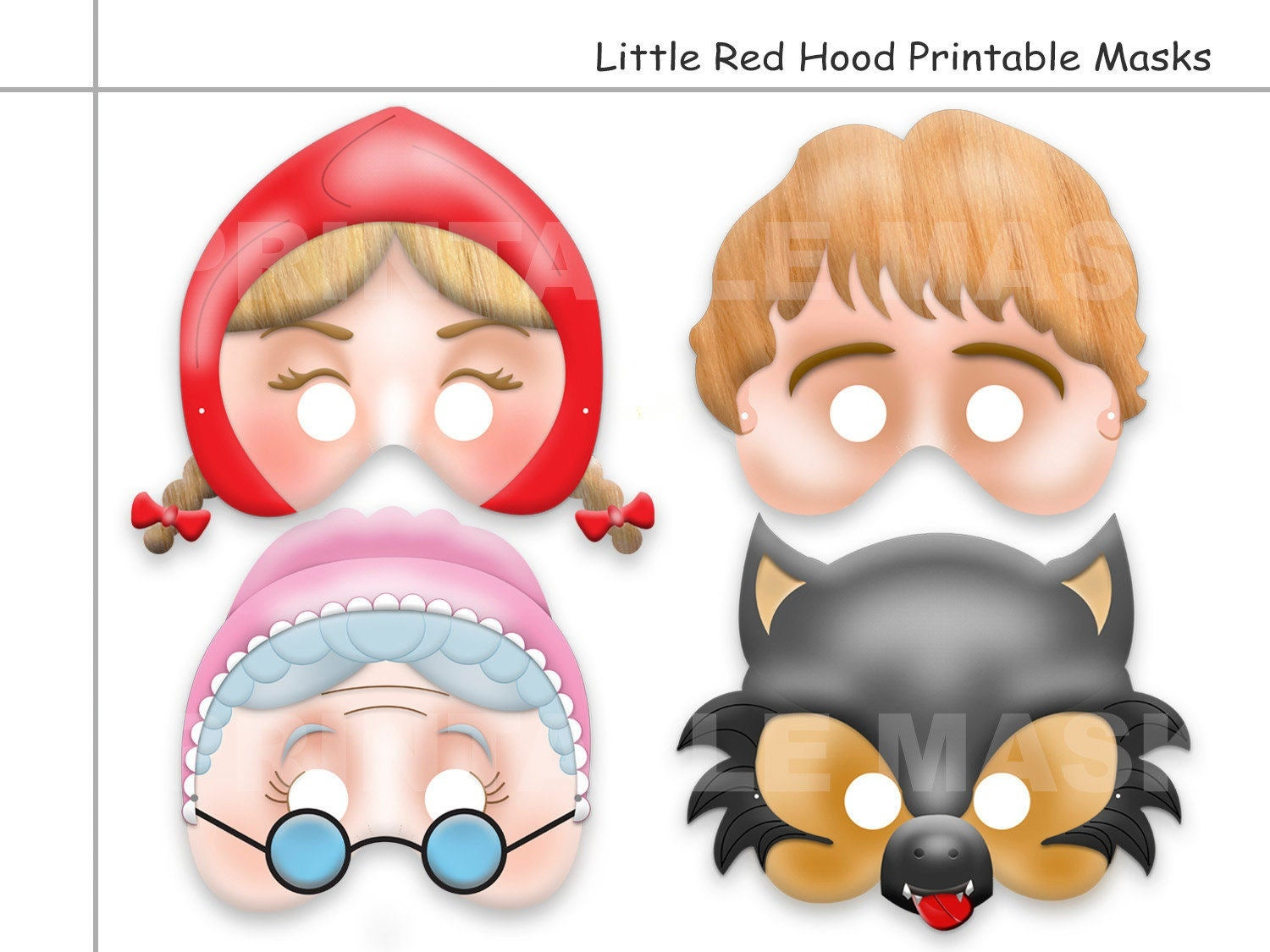 Unique Little Red Riding Hood Tale Printable Masks Wolf | Etsy - Little Red Riding Hood Masks Printable Free