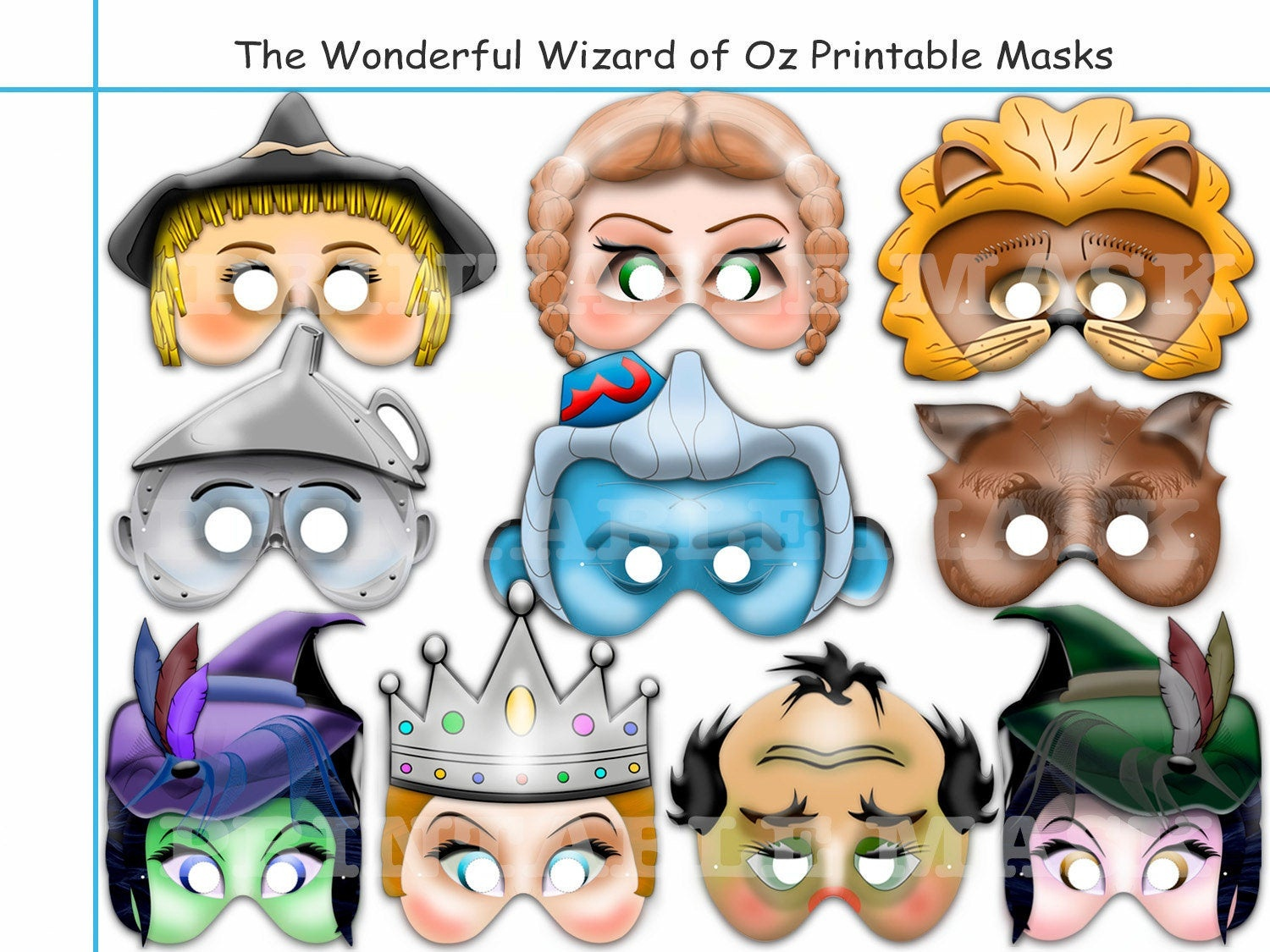 Unique Wizard Of Oz Printable Maskselements Oz Party | Etsy - Free Printable Wizard Of Oz Masks