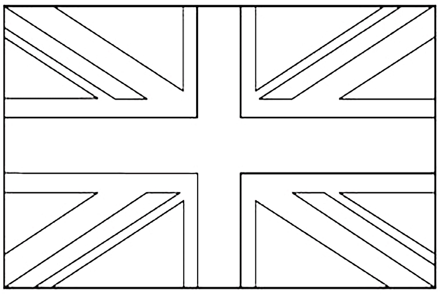 United Kingdom Union Jack - Flags Coloring Pages For Kids To Print - Free Printable Union Jack Flag To Colour