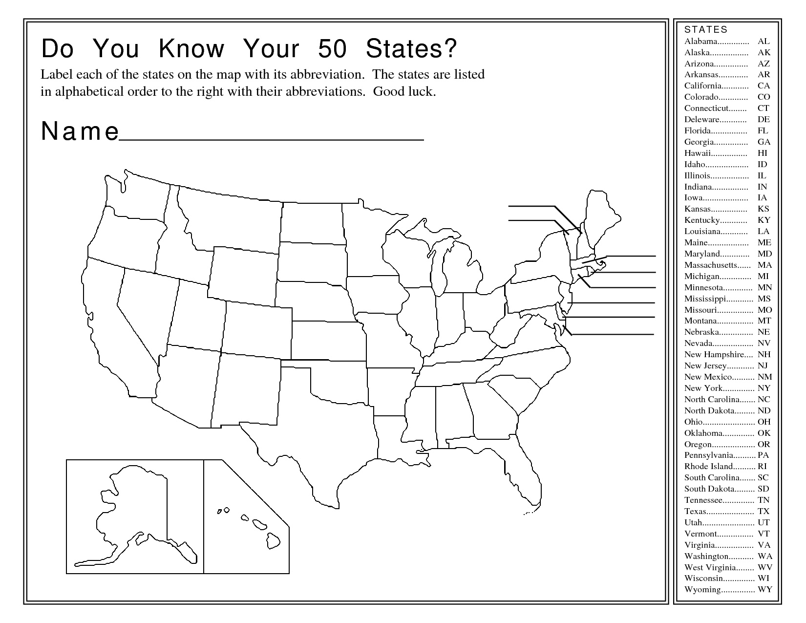 United States Map Activity Worksheet | Social Studies | Map - Free Printable States And Capitals Worksheets