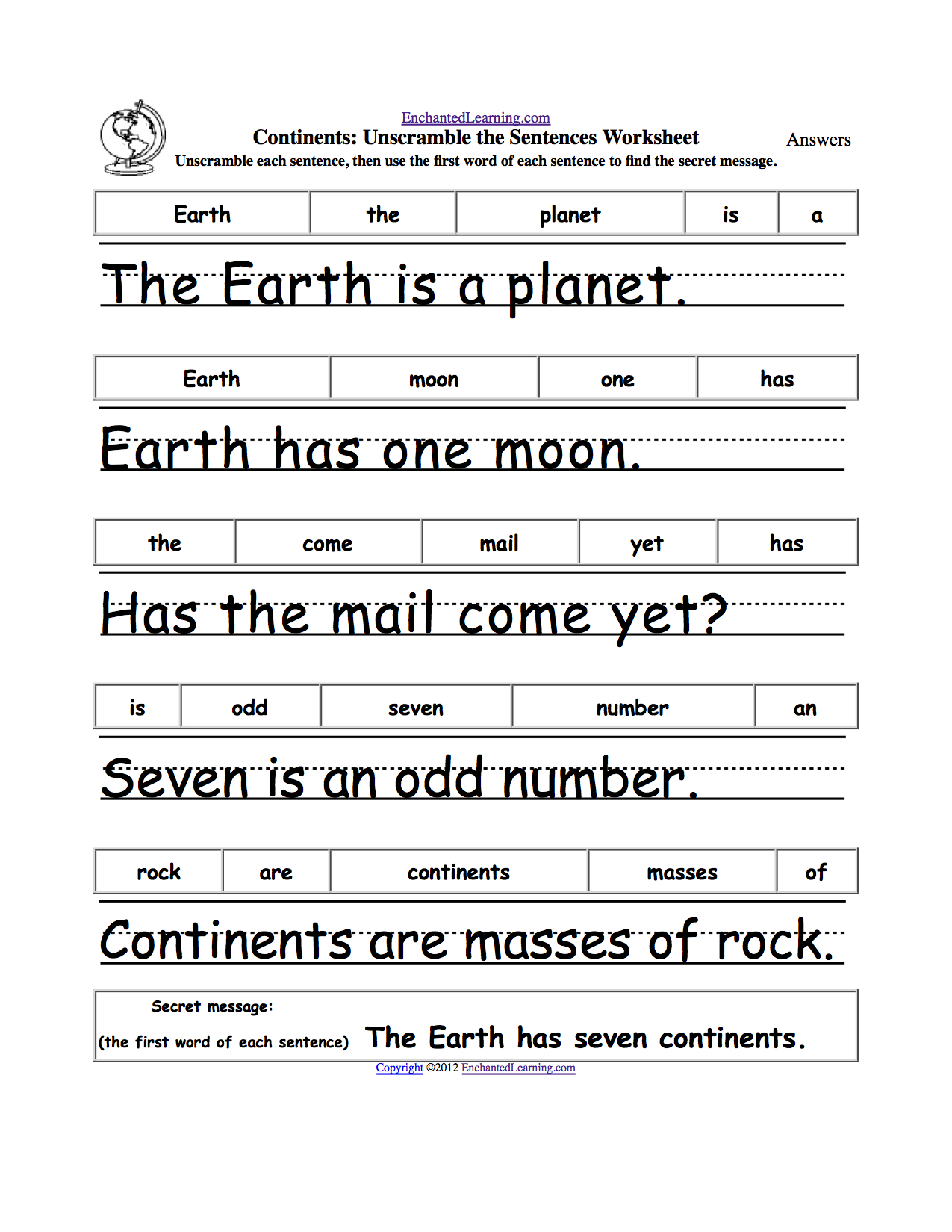 Unscramble The Sentences | Earth Week | Earth Day Crafts, Earth Day - Free Printable Scrambled Sentences Worksheets
