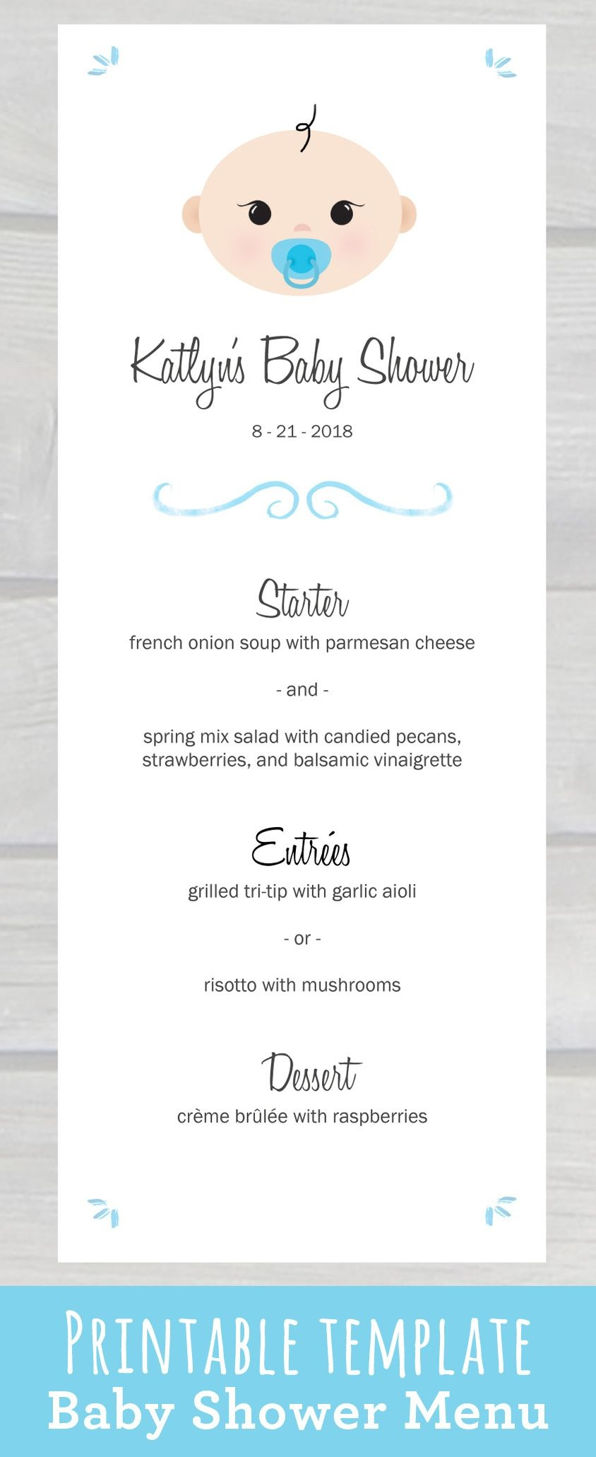 Use This Cute Baby Shower Menu Template Pdf To Edit & Print Your Own - Free Printable Drink Menu Template