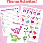 Valentine Kid's Dinosaur Bingo + Activity Set   Perfect For   Dinosaur Bingo Printable Free