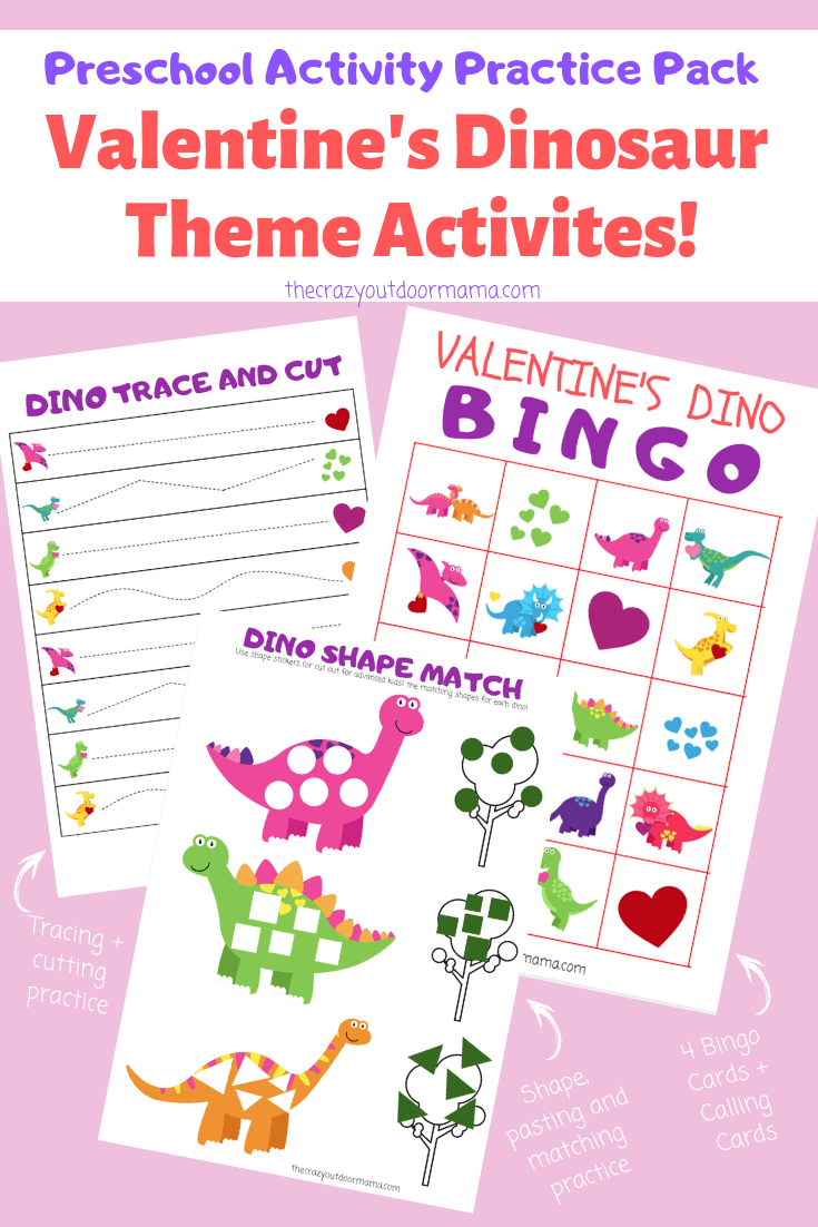Valentine Kid's Dinosaur Bingo + Activity Set - Perfect For - Dinosaur Bingo Printable Free