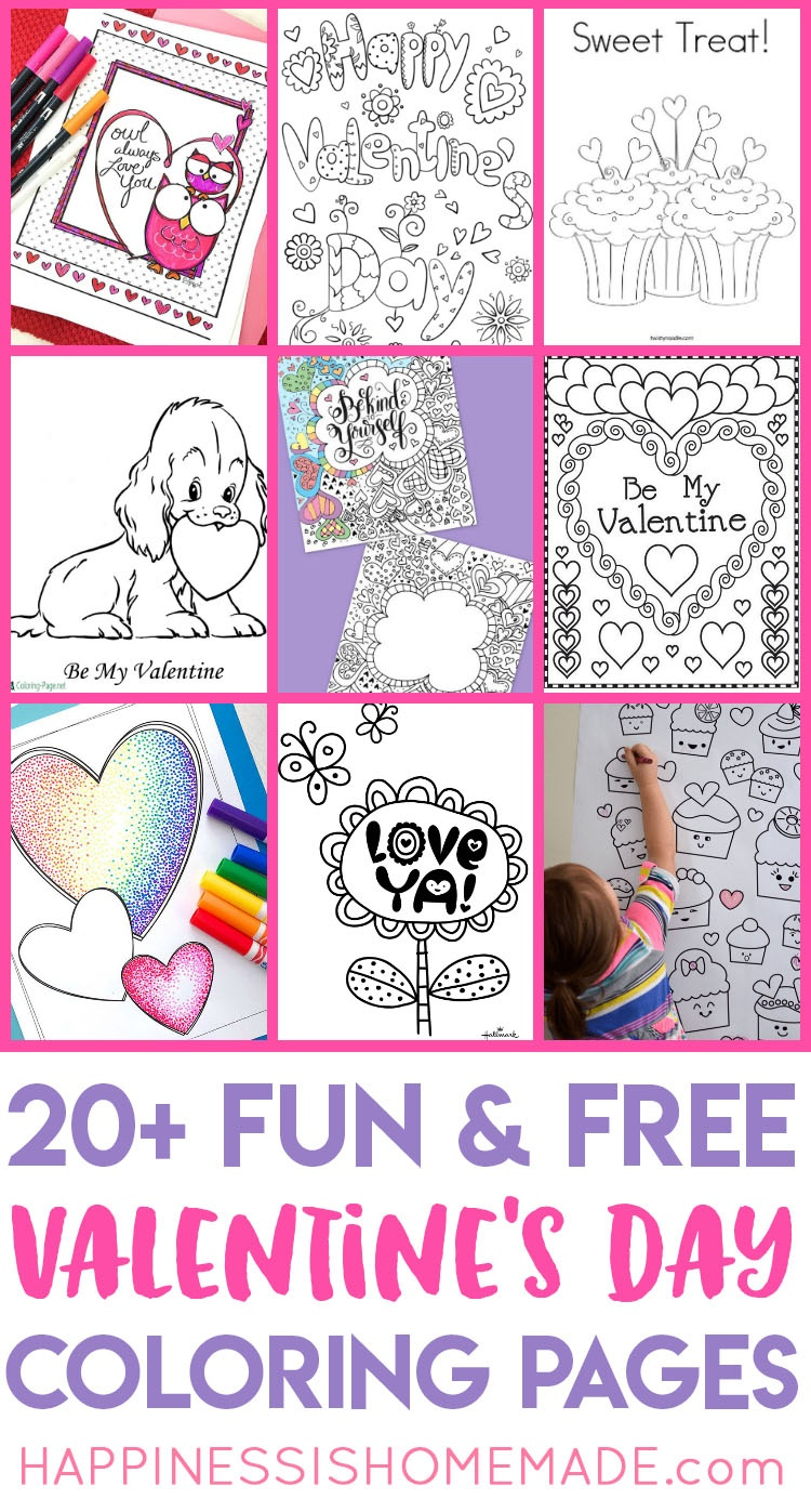 Valentines Coloring Pages - Happiness Is Homemade - Free Valentine Printables