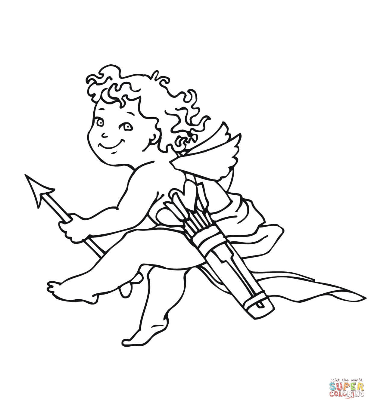 Valentine's Day Cupid Coloring Page   Free Printable Coloring Pages - Free Printable Pictures Of Cupid