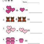 Valentine's Day Math Worksheet   Free Kindergarten Holiday Worksheet   Free Printable Preschool Valentine Worksheets