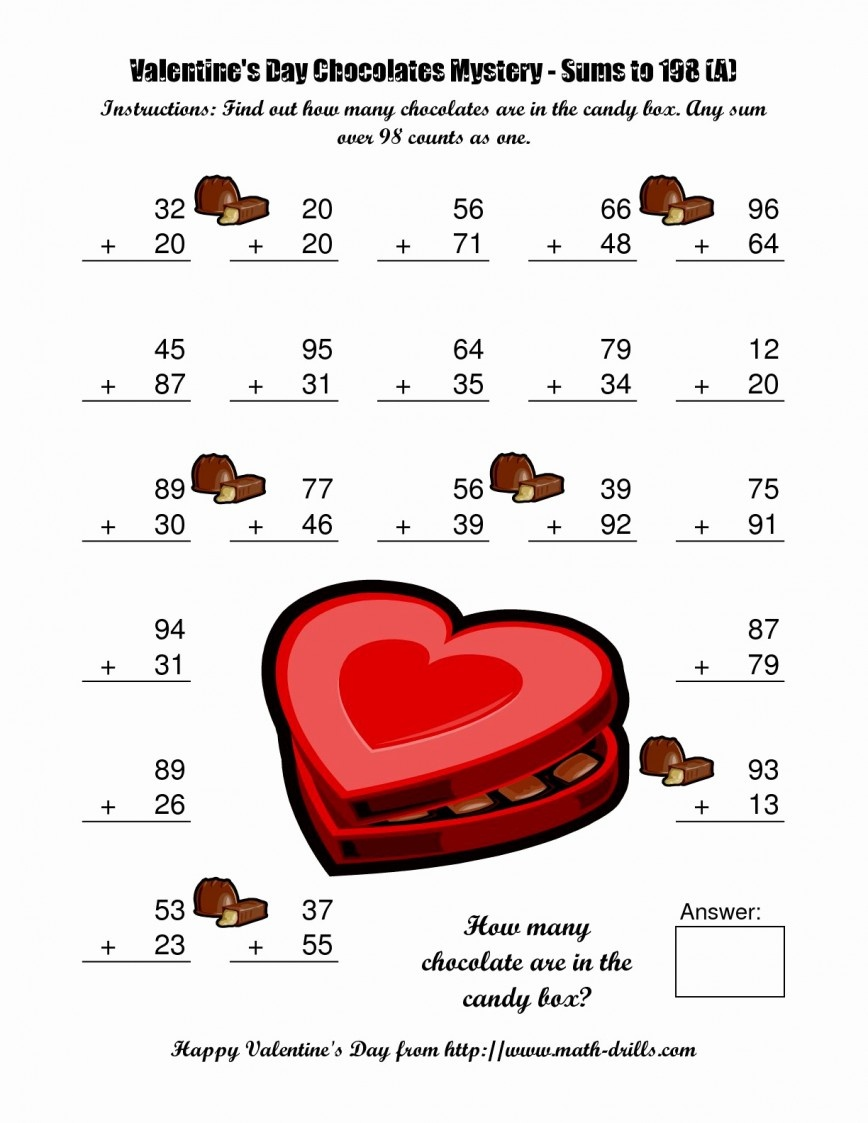 Valentines Day Math Worksheets Th Grade Valentine For Kinder On Free - Free Valentine Math Worksheets And Printables