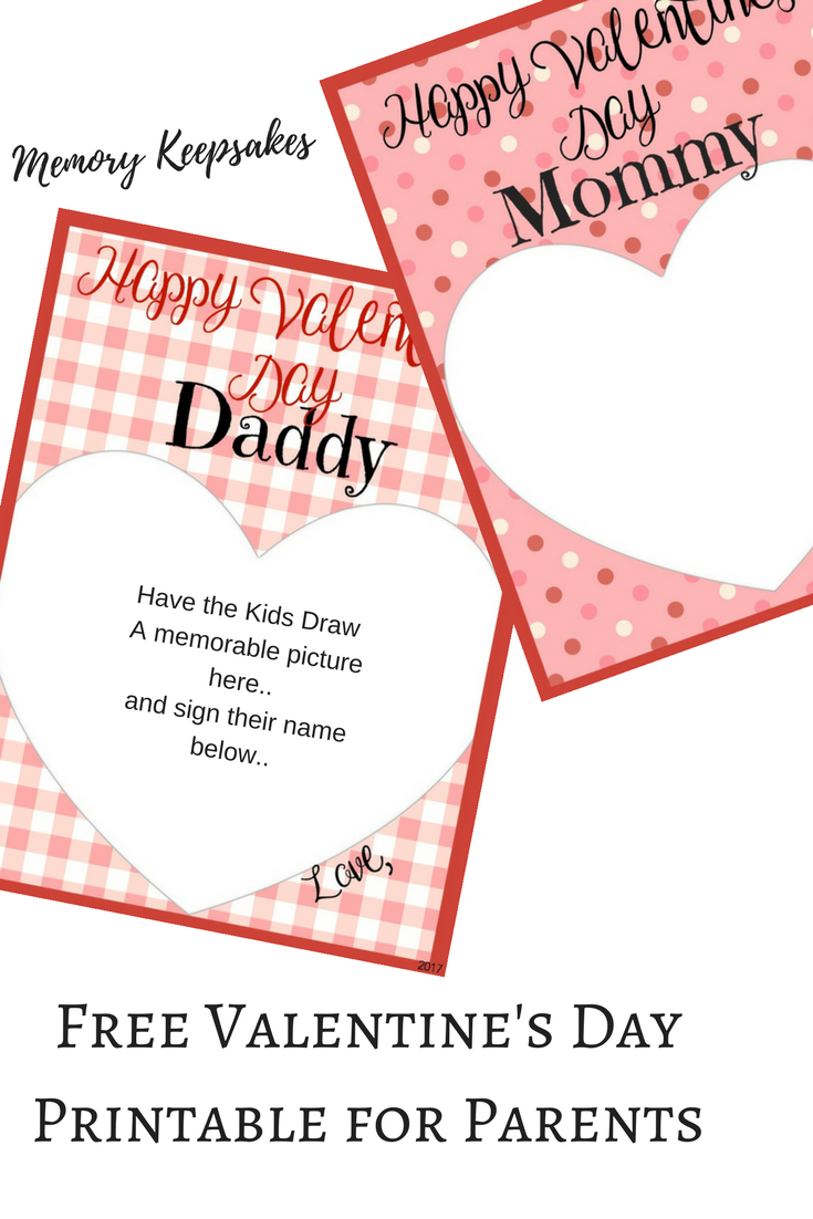 Valentine's Day Memory Keepsake Printable Cards For Parents - Free Printable Valentines Day Cards For Parents