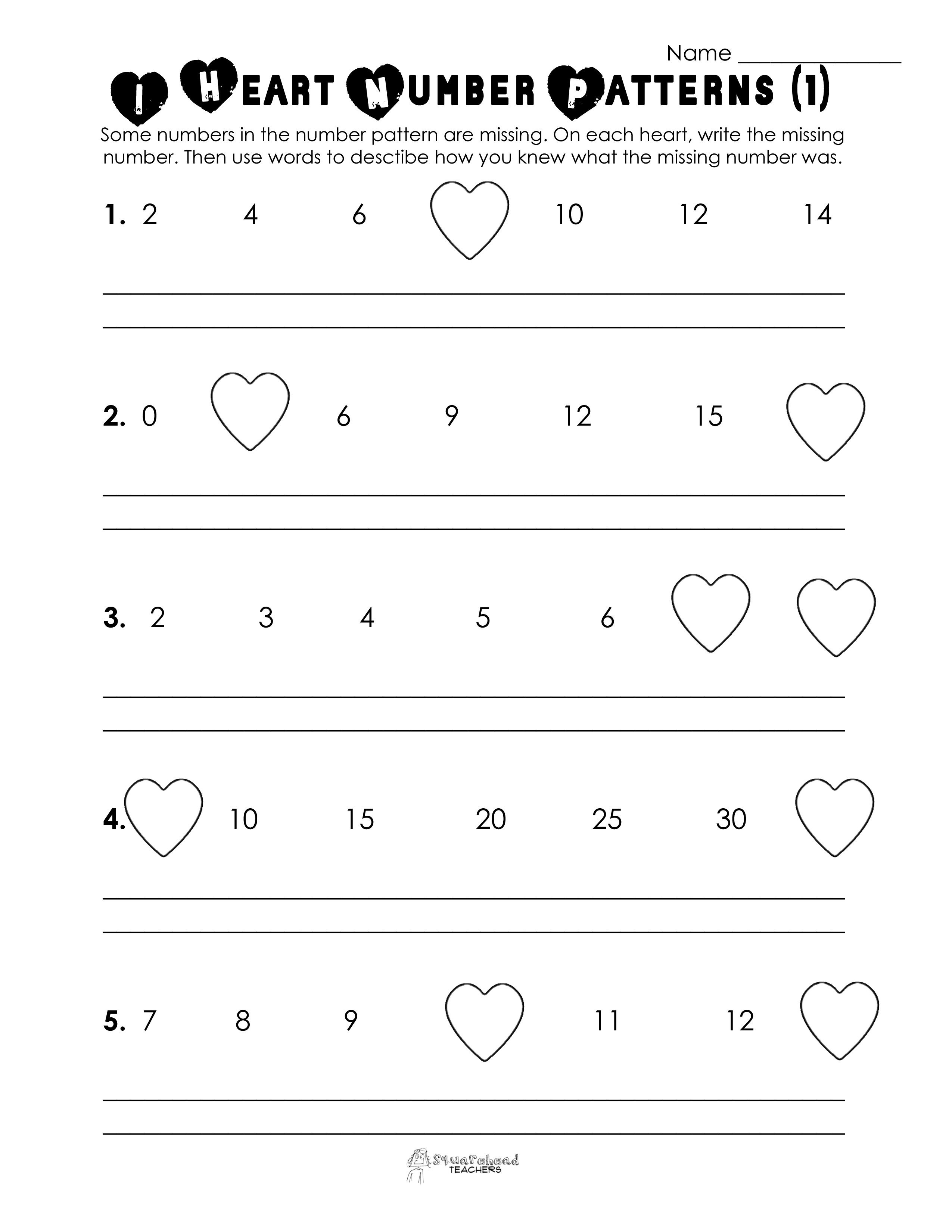 Valentine's Day Number Patterns (Free Worksheet!) | Valentine - Free Valentine Math Worksheets And Printables