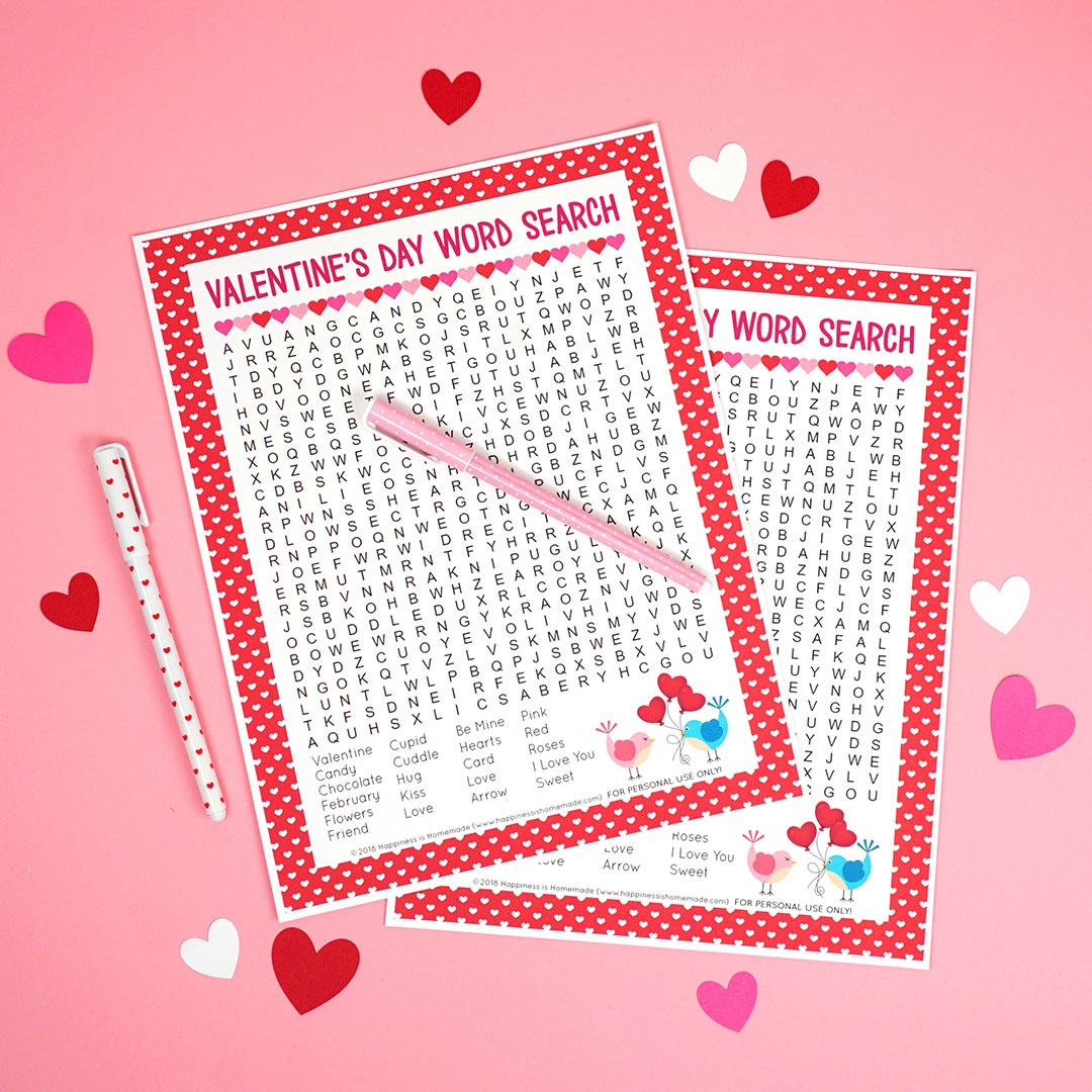 Valentine's Day Word Search Printable - Happiness Is Homemade - Free Printable Valentine Word Games