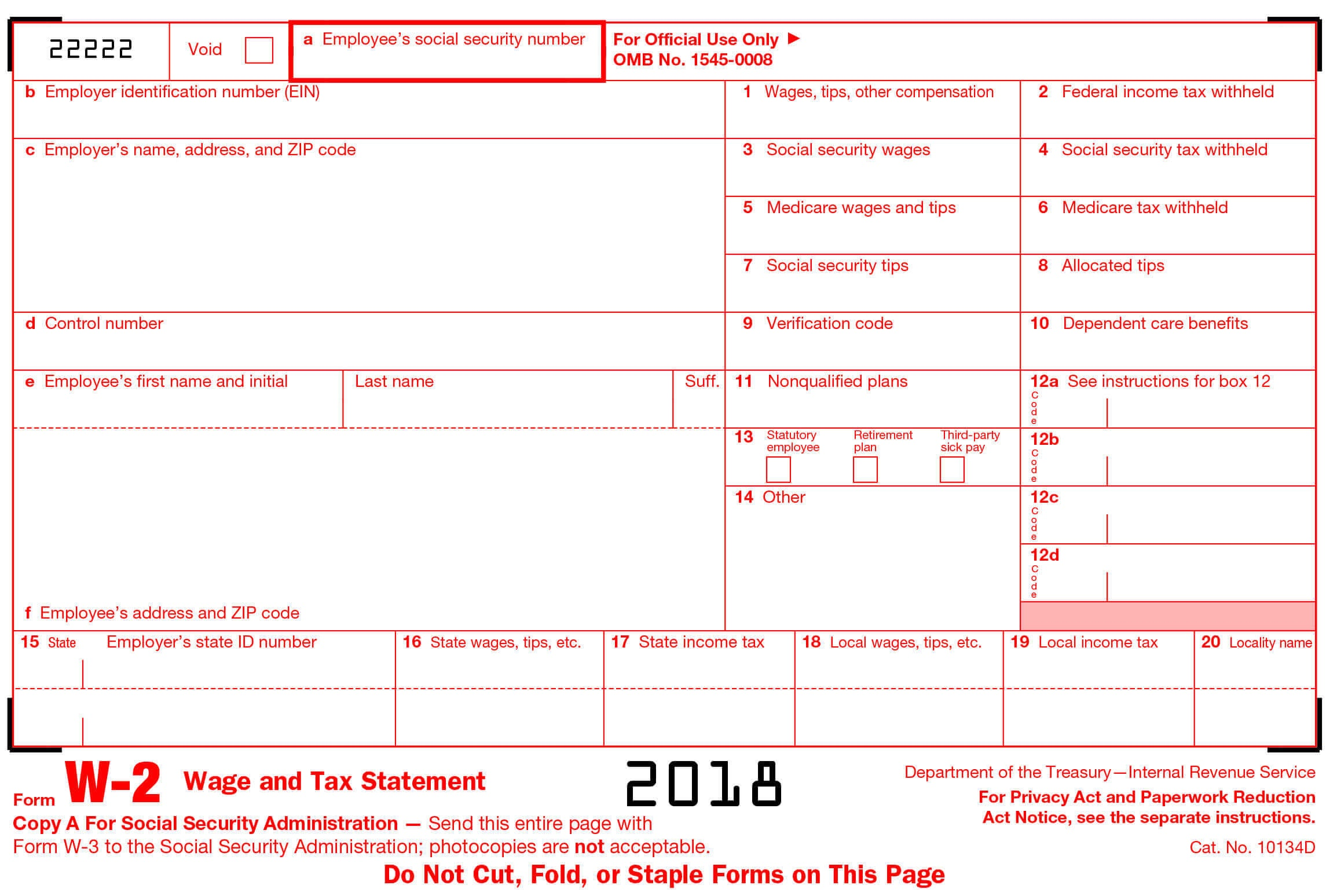 W2 Form- Generate Printable W2 Form Online At Stubcreator - Free Printable 1099 Form 2018