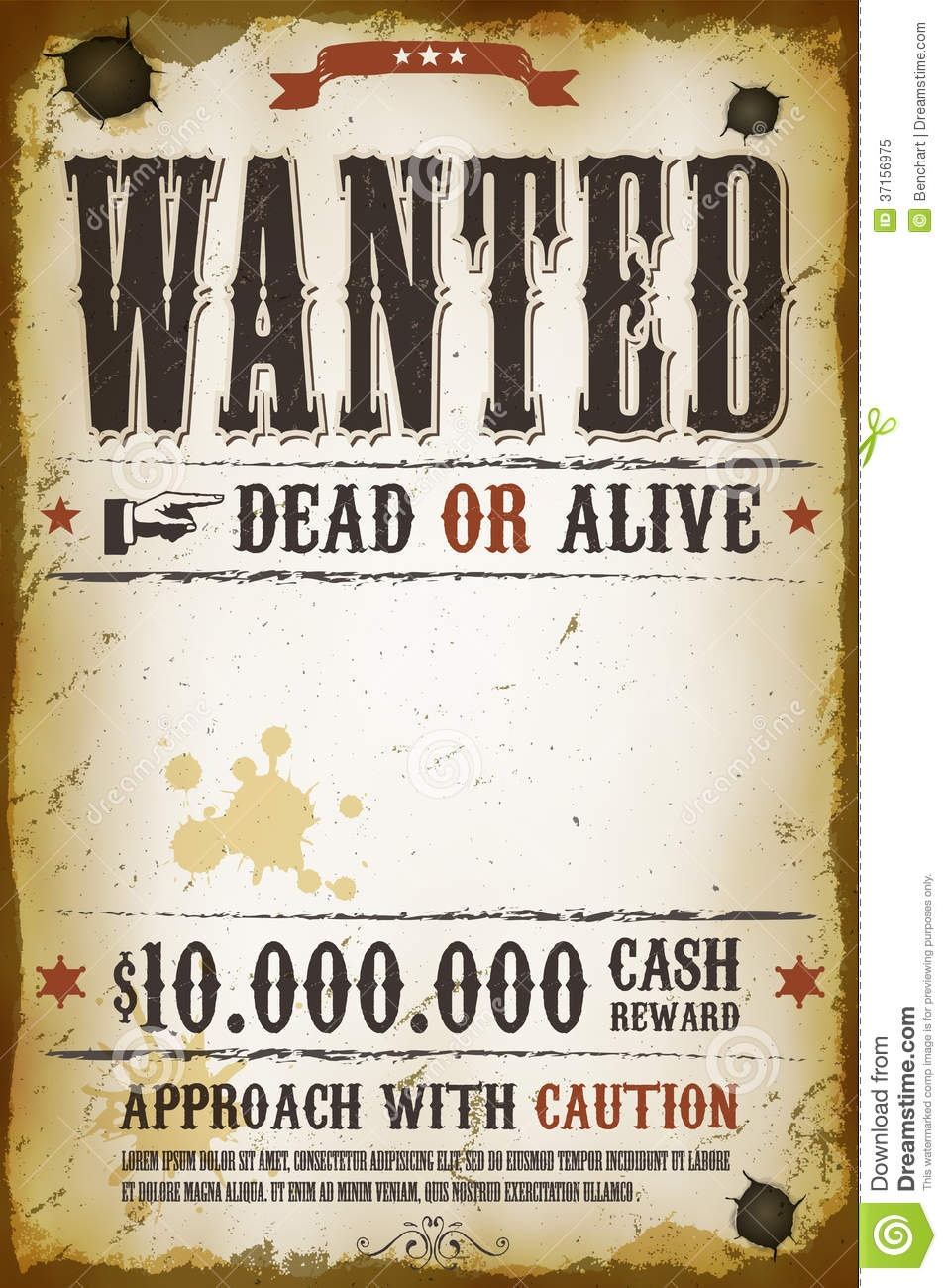 Wanted Vintage Western Poster Stock Vector - Illustration Of Brown - Wanted Poster Printable Free