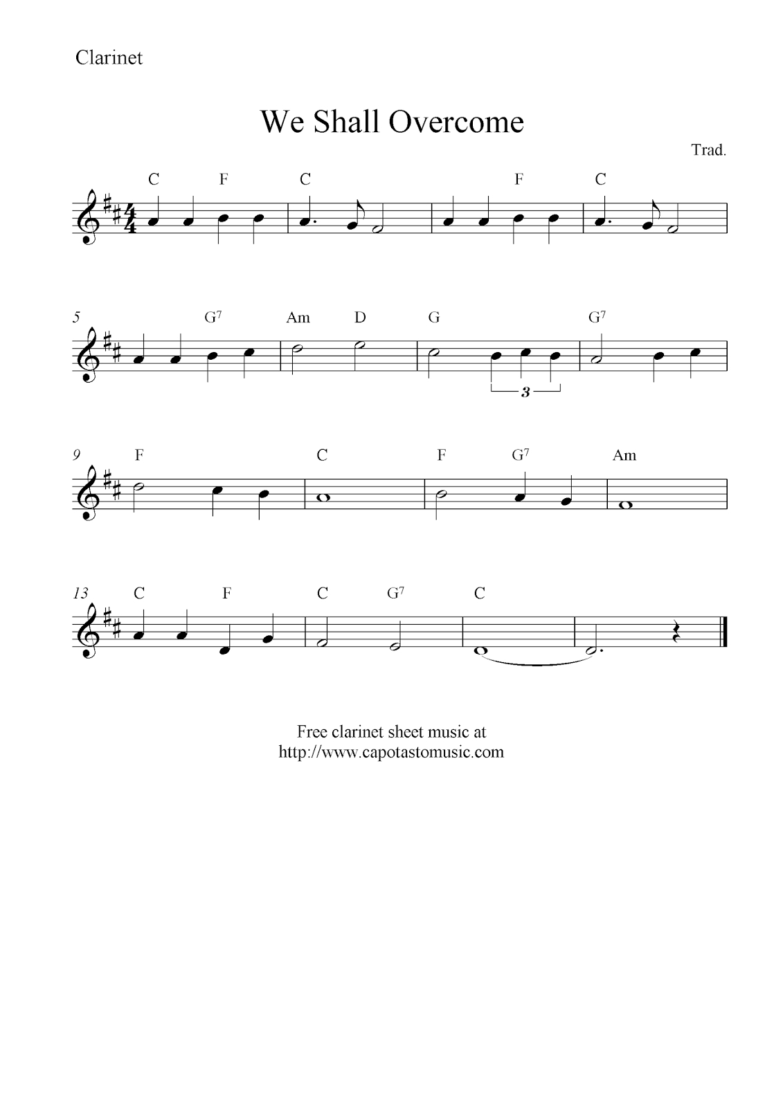 We Shall Overcome, Free Clarinet Sheet Music Notes - Free Sheet Music For Clarinet Printable