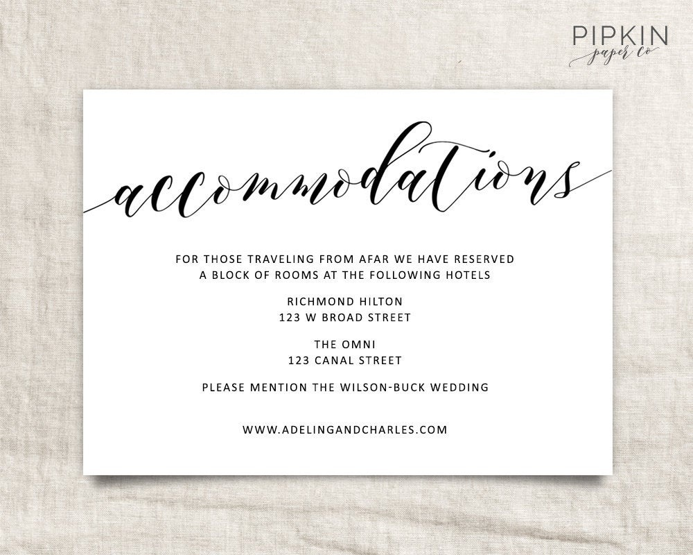 Wedding Accommodations Template Printable Accommodations | Etsy - Free Printable Enclosure Cards