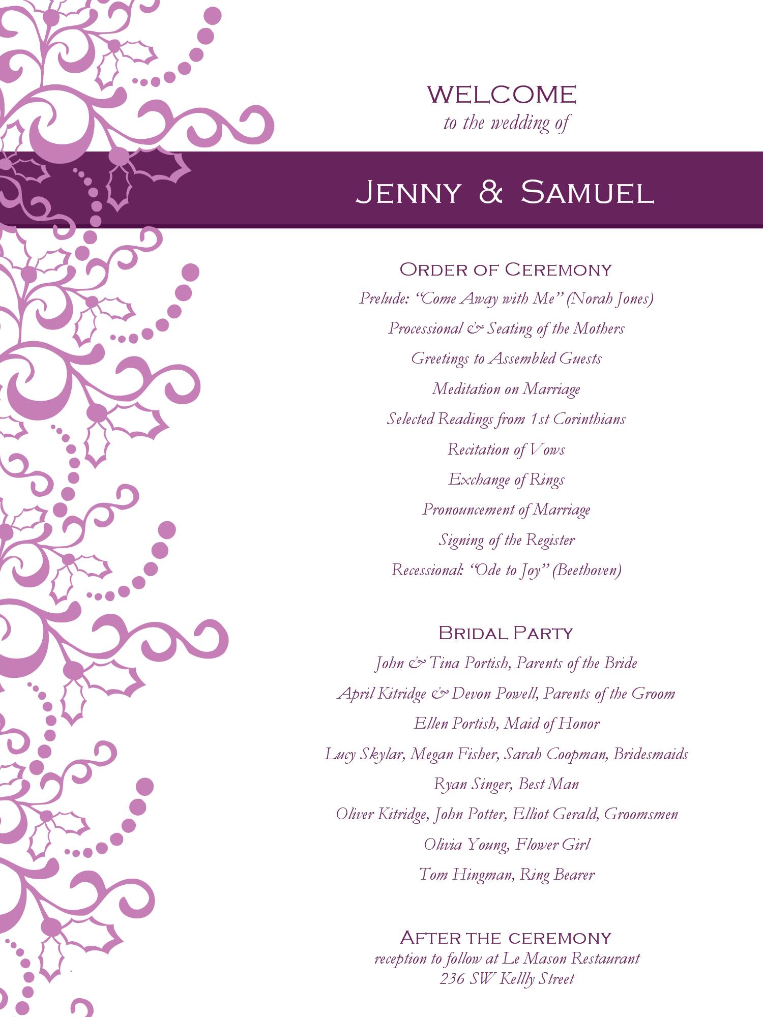 Wedding Program Templates Free | Weddingclipart | Wedding - Free Printable Wedding Program Samples