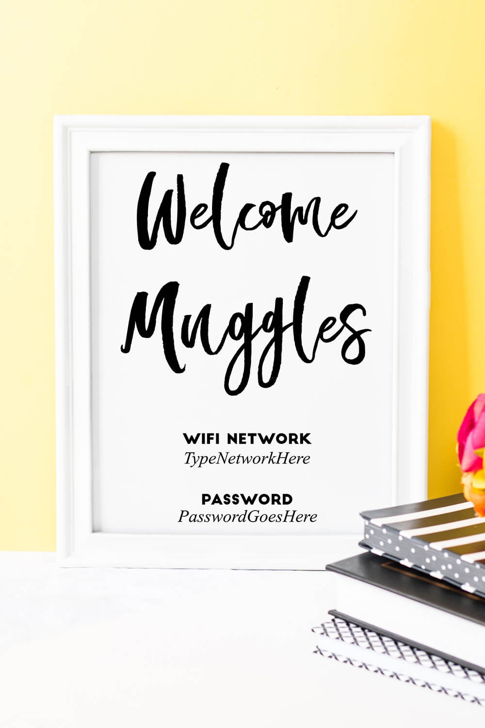 "Welcome Muggles"" Harry Potter Free Printable Wifi Password Sign - Free Printable Wifi Password Template"