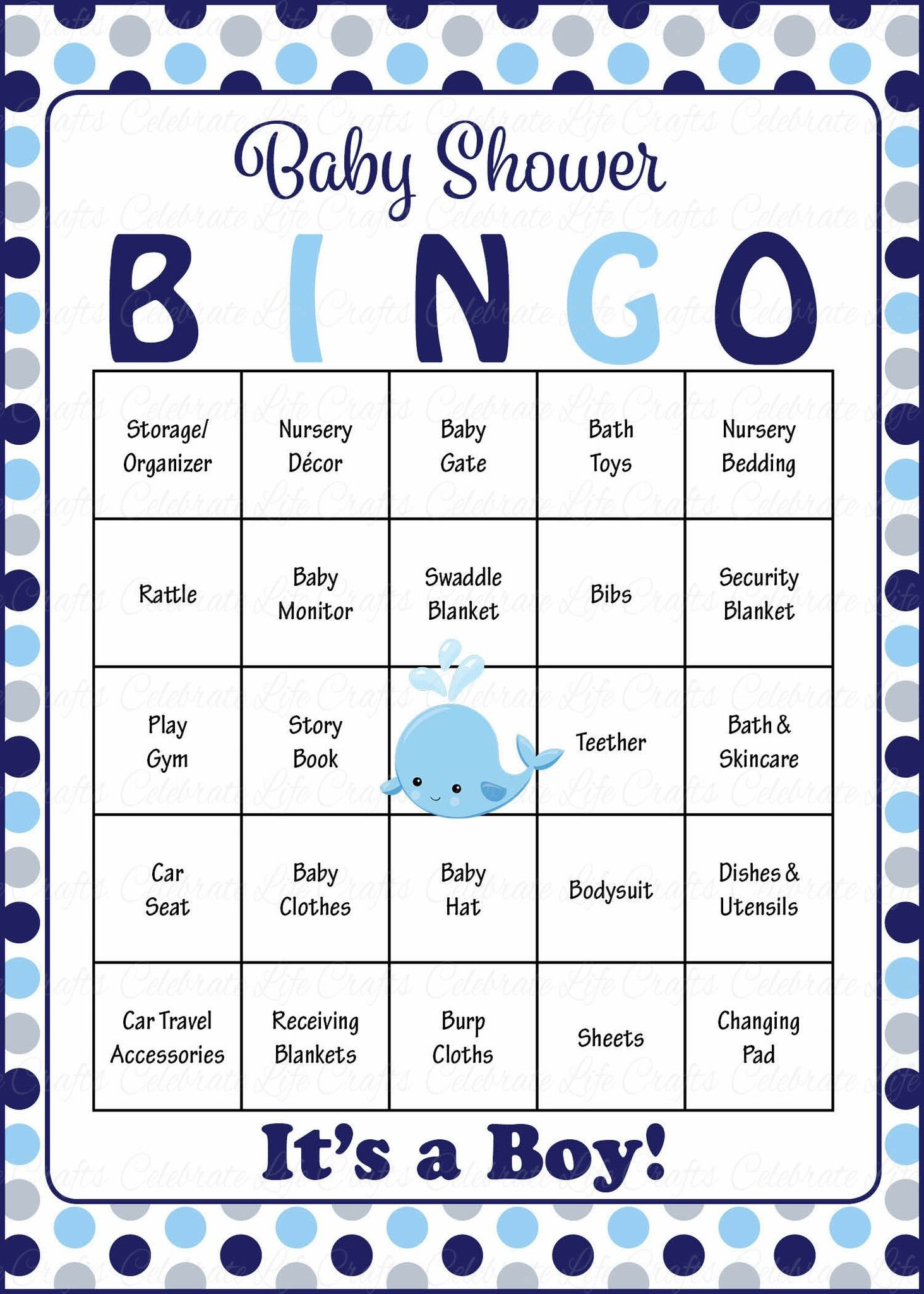 Whale Baby Bingo Cards - Printable Download - Prefilled - Baby - Free Printable Baby Shower Bingo