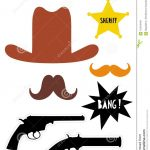 Wild West Photo Booth Vector Props Set. Diy. Cowboy Party. Stock   Free Printable Western Photo Props