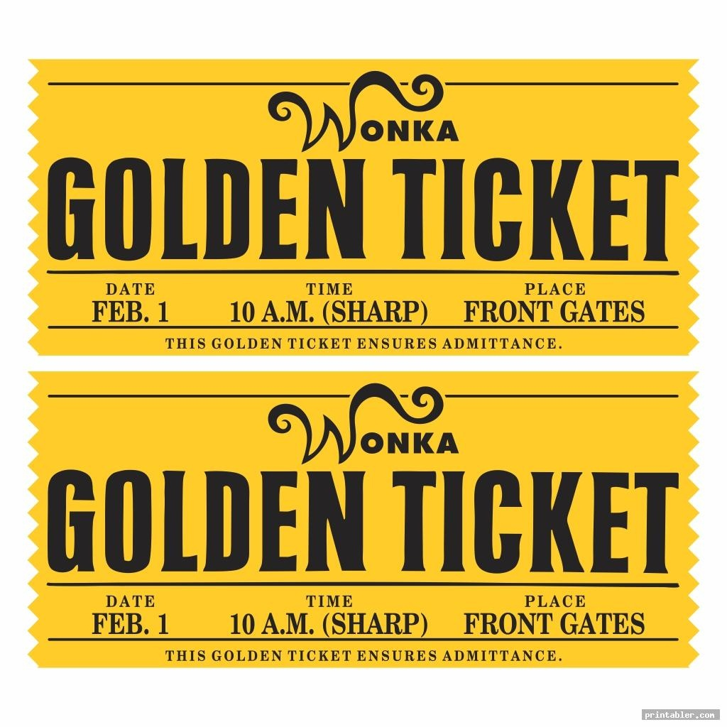 Willy Wonka Golden Ticket Printable - Printabler - Golden Ticket Printable Free