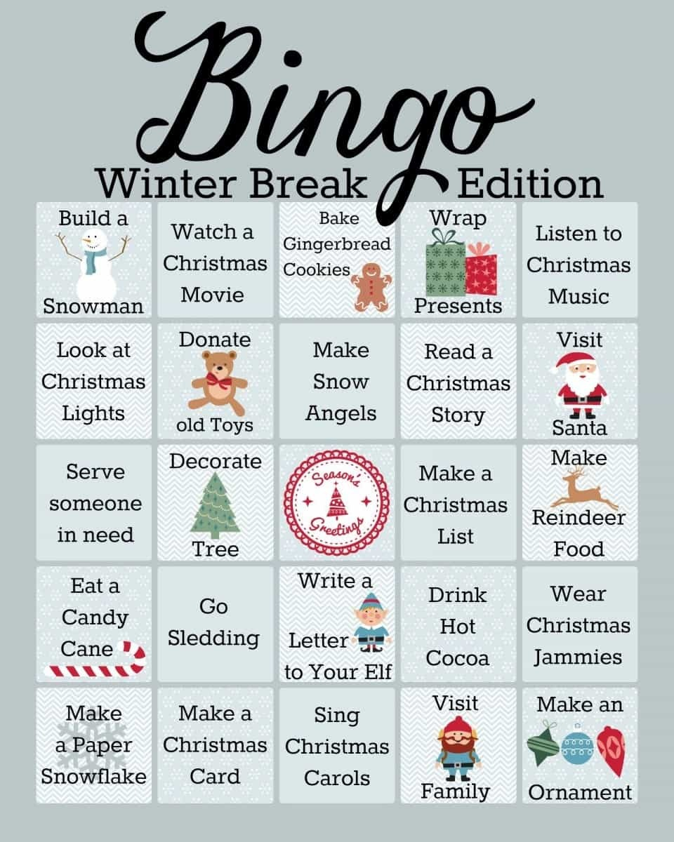 Winter Activities Bingo Game Printable - A Mom's Take - Winter Bingo Cards Free Printable