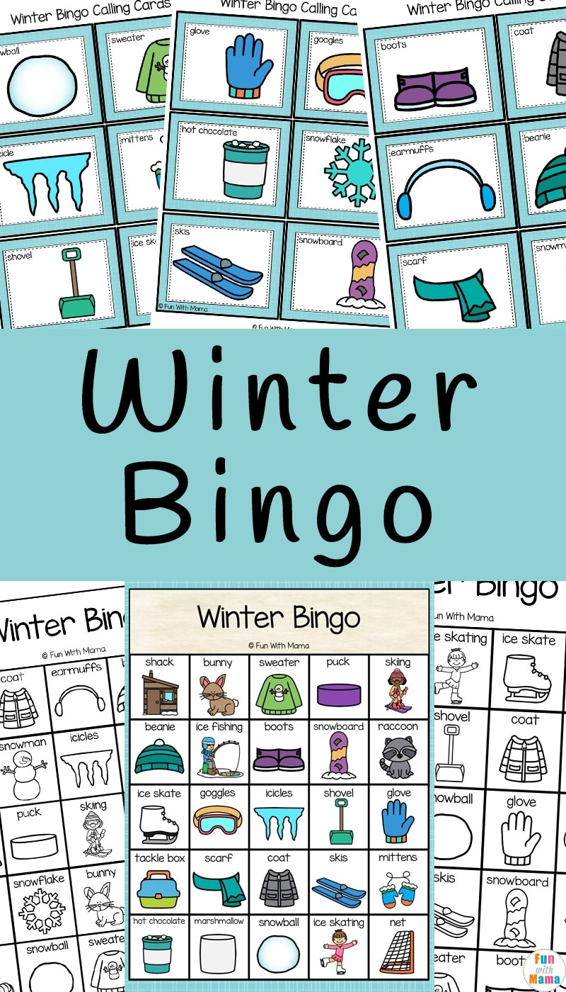 Winter Bingo - Fun With Mama - Winter Bingo Cards Free Printable