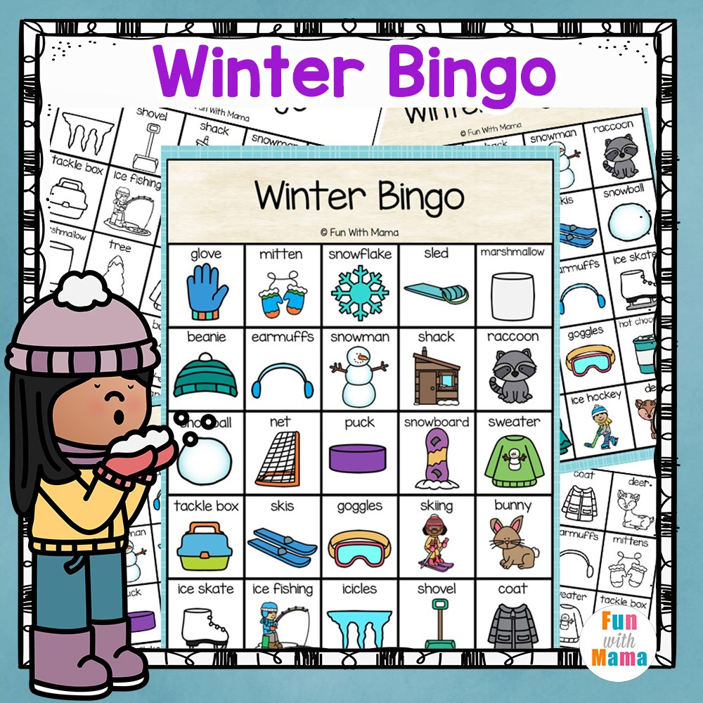 Winter Bingo Game - Fun With Mama - Winter Bingo Cards Free Printable